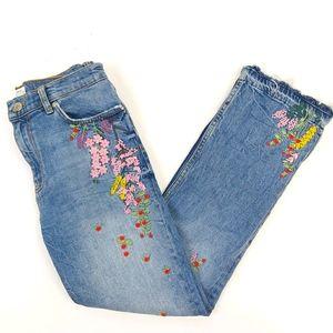Zara Embroidered Floral Denim Straight Jeans sz 6
